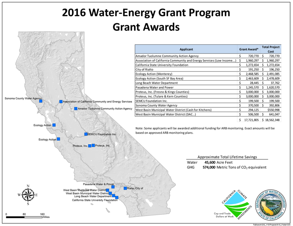 map of water-energy grant awards
