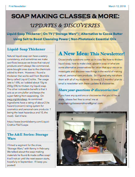 First Newsletter, Page 1 - March 2018
