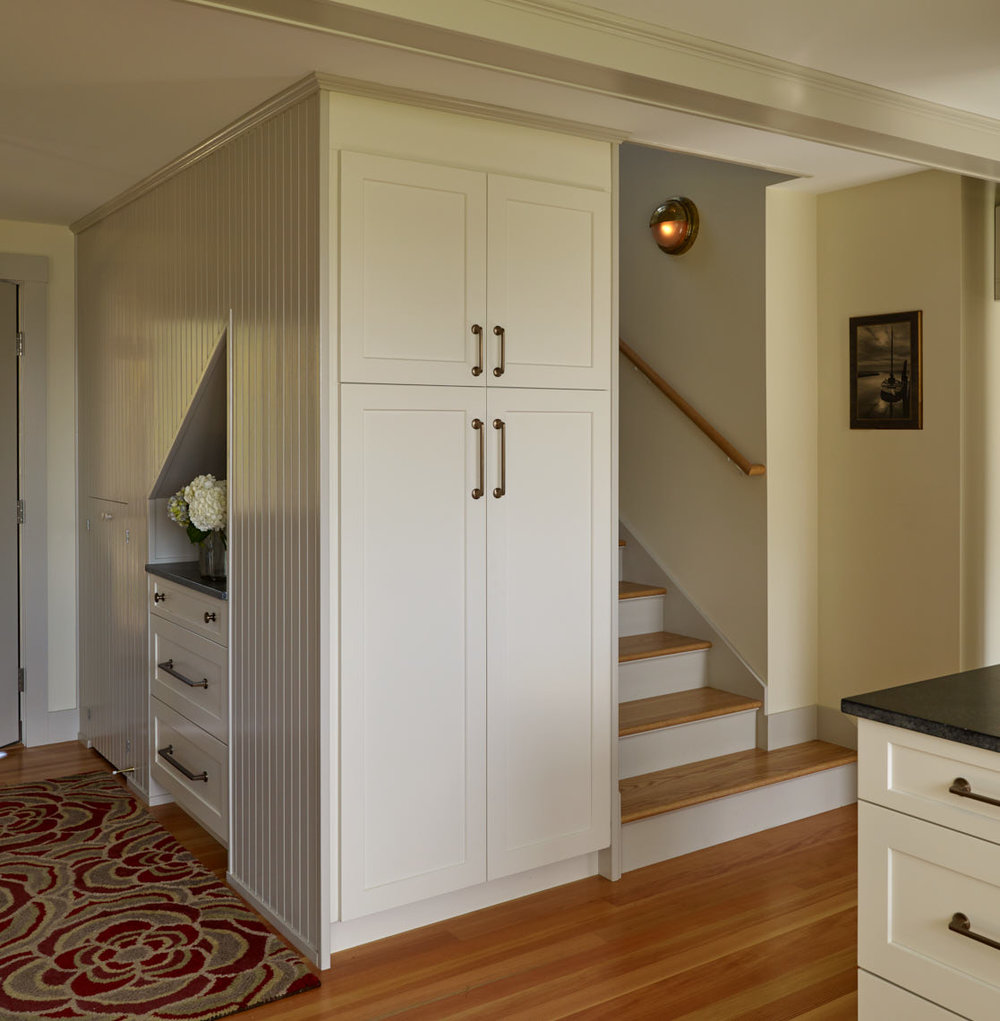 NEW MEADOWS RETREAT  Entrance with storage and stairs to second floor