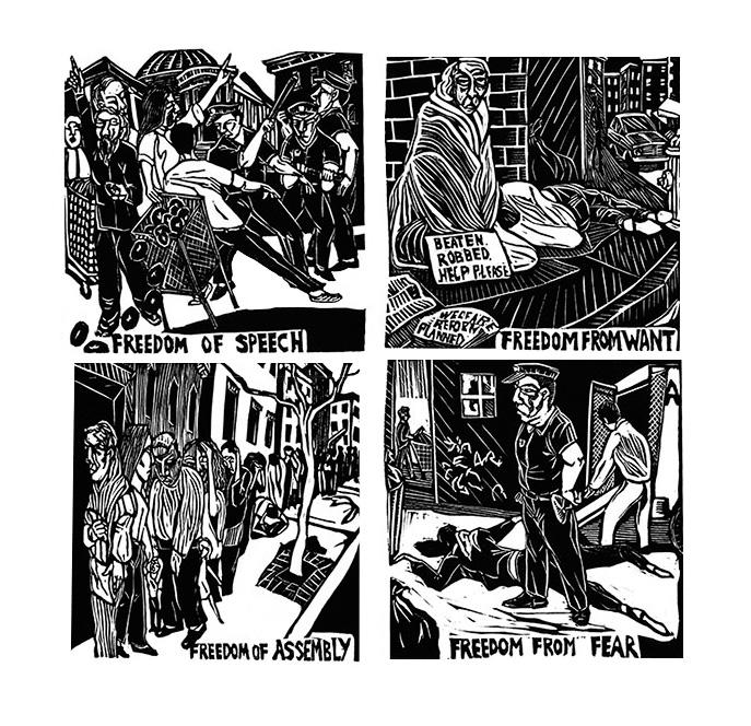 """Four Freedoms"", 1996, by Art Hazelwood."