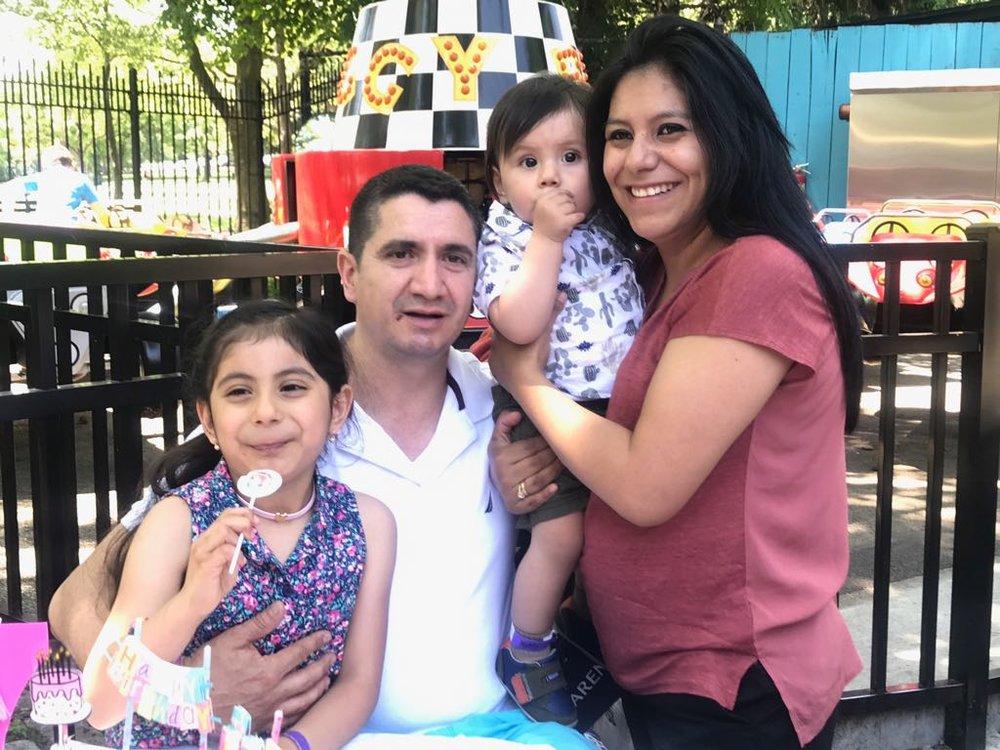 Briana cordero (2nd grader), Laura Galarza (mother) and family