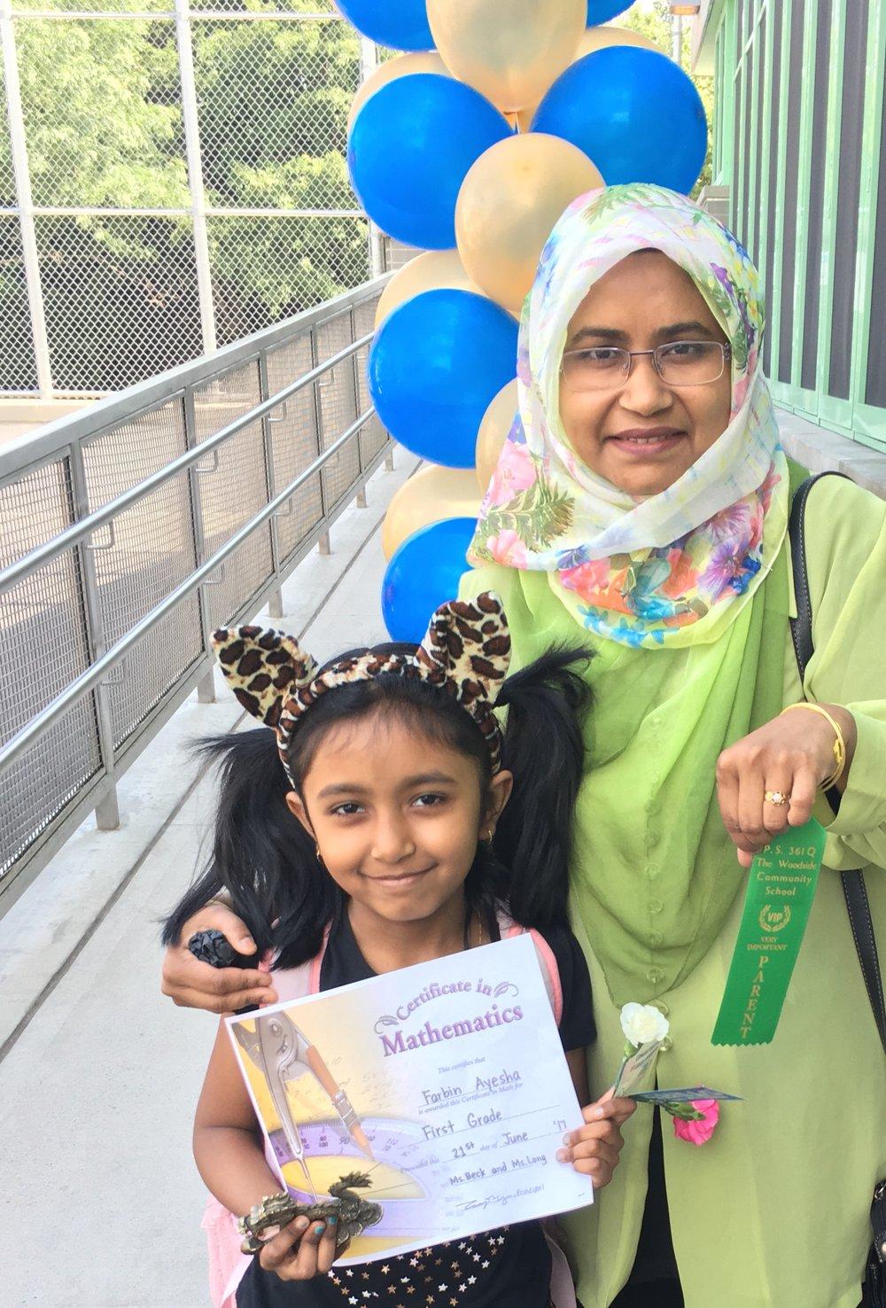 farbin ayesha (2nd grader) and mother, salma akhter