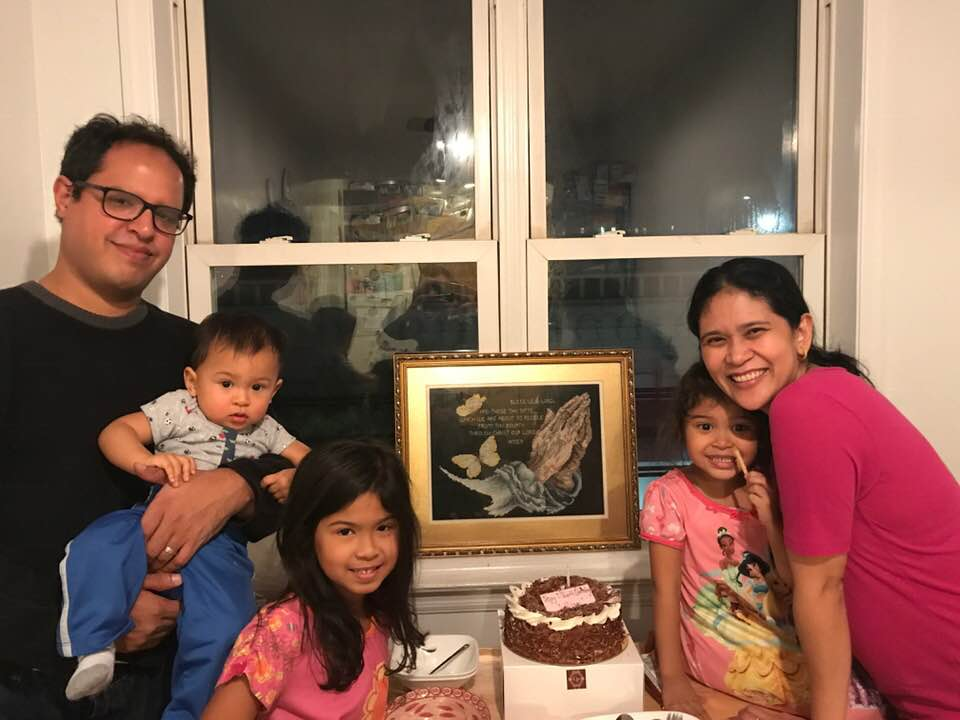 Robert Cruz (father), baby cruz, Isabela Cruz (2nd grader), Larissa Cruz (Pre K), and mother, romelyn cruz