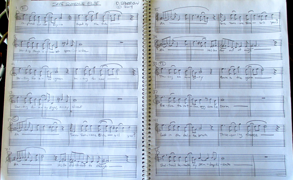 """Patrick Grant's lead sheet for """"Save Someone Else"""""""