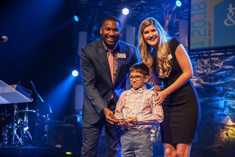 Holden was chosen as the Elementary Youth of the Year winner for 2018 and was honored on-stage at Hands & Hearts.