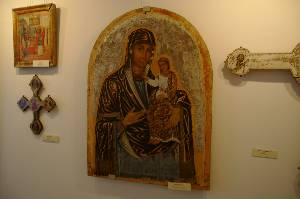We visited a museum where many very old and beautiful icons were displayed.