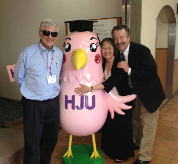 Dr. Lerer, Jolene, and I posed with the Jogakuim University chicken in one of our more serious moments.