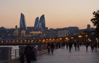 Baku is a beautiful city on the Caspian Sea.