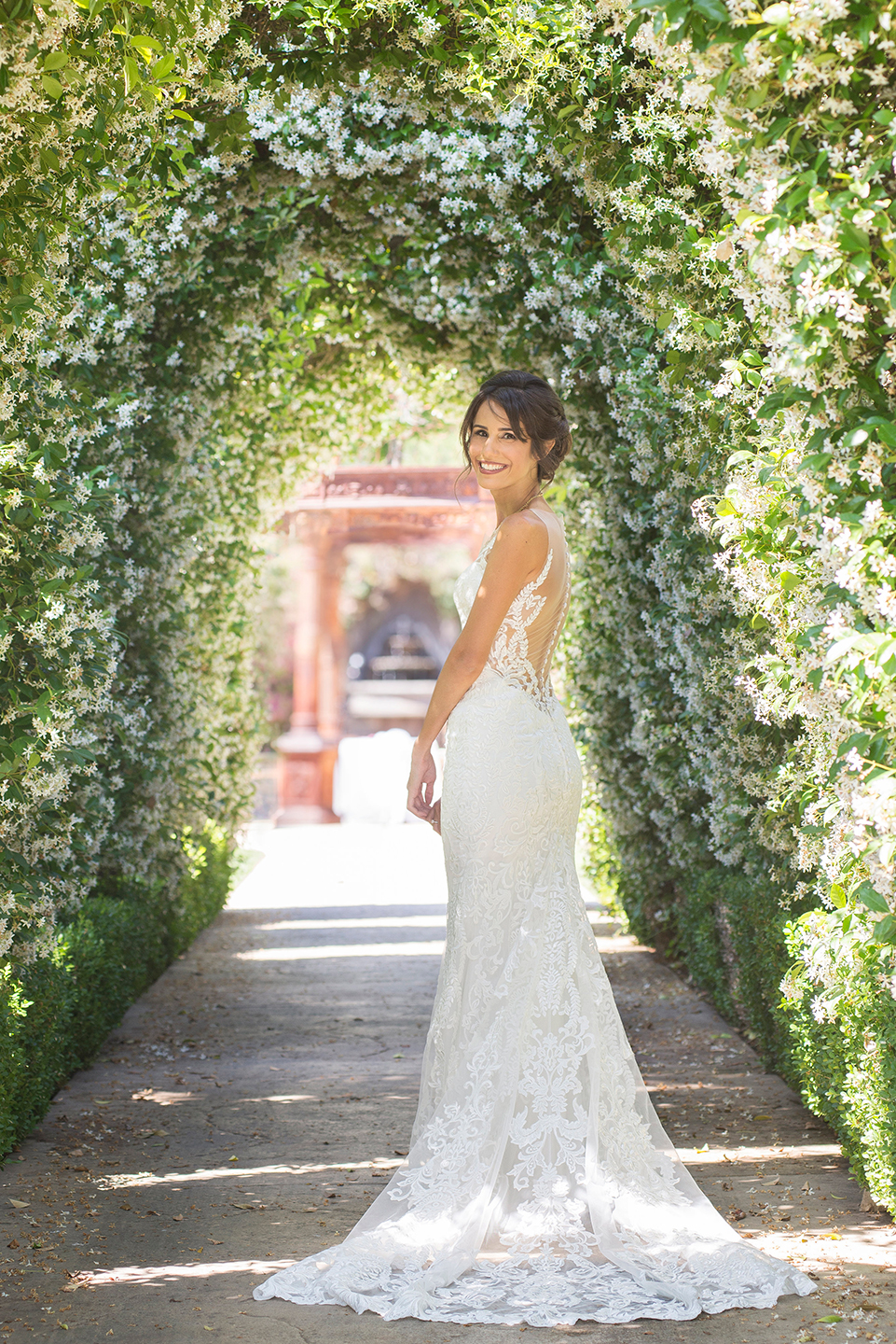 We both fell in love with this honeysuckle archway too and knew we had to get some shots in here as well!