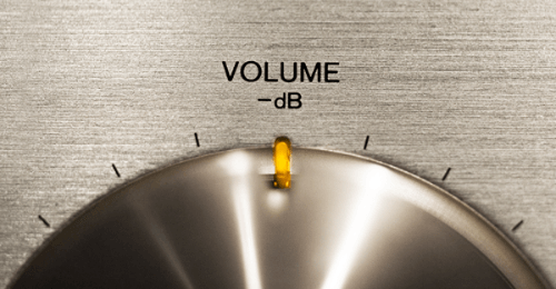 Closeup photo of volume decibel dial