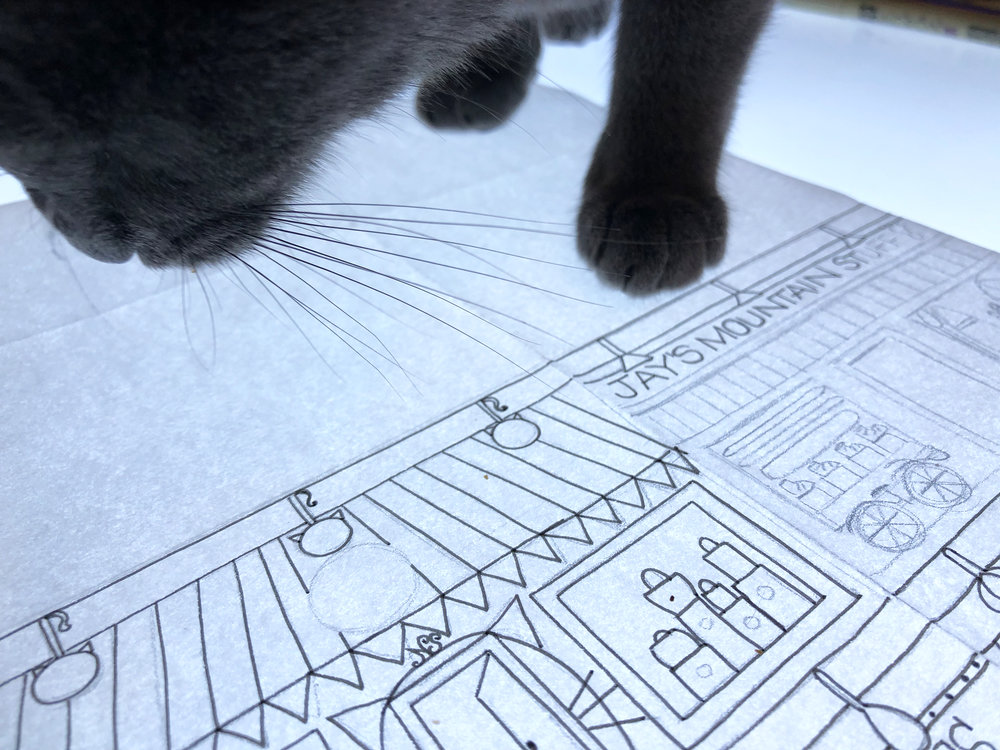dottie sniffs the art | how to argue with a cat.JPG