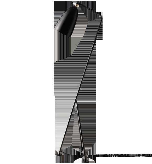 Grashoppa, la lampada di design disegnata da Greta Grossmann è prodotta da Gubi Design. Linee nere accompagnano l'equilibrio.