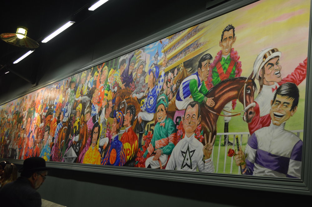 Peb's mural of Derby-winning riders.  Check out this amazing article.
