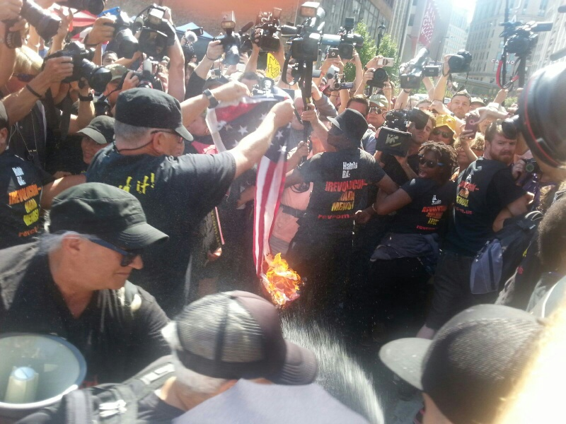 Joey Johnson Burning the American Flag Outside the RNC