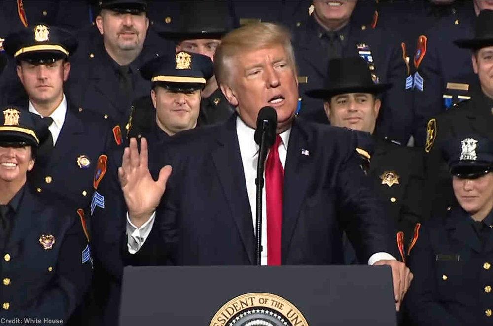 Trump speaking to cops