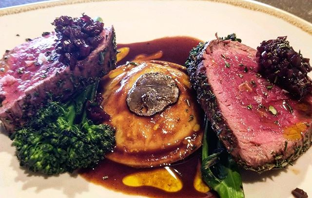 Merry Christmas Eve! OurChef has prepared and Herb Crusted Beef Tenderloin with a Tallegio & Mushroom Ravolio and Charred Broccolini , Demi Glacé and Shave Truffles!  #mouthwatering #chefinspiration #christmasevemenu #holidayseason #steamboatdining #mambossteamboat #italianfood #cheflife #steamboatresort #foodporn #mamboitaliano #mambosteamboat