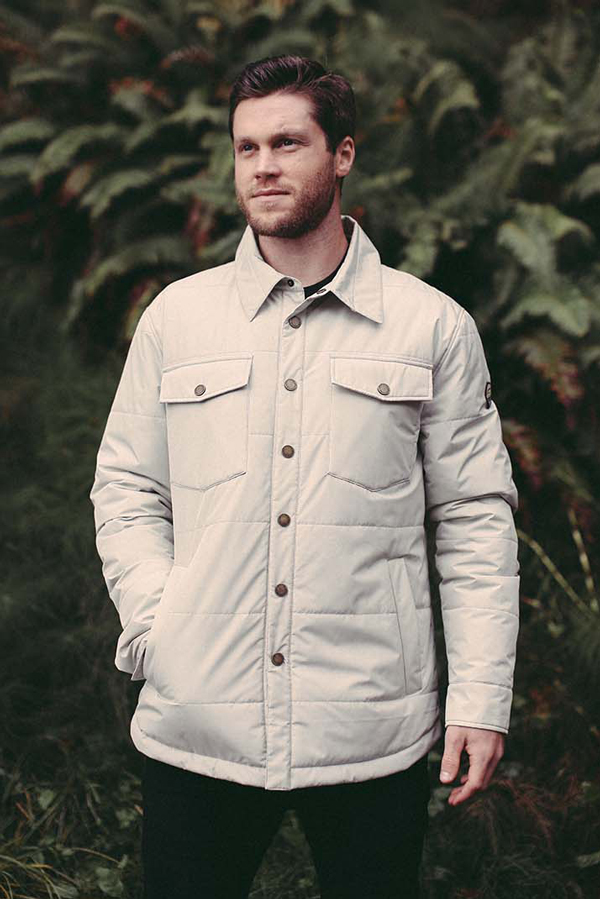 The  Olympic Quilted Shirt Jacket  ($145) is 100% Polyester, 2-layer construction with membrane backing and features Thermore® Rinnova (50% recycled) Insulation.