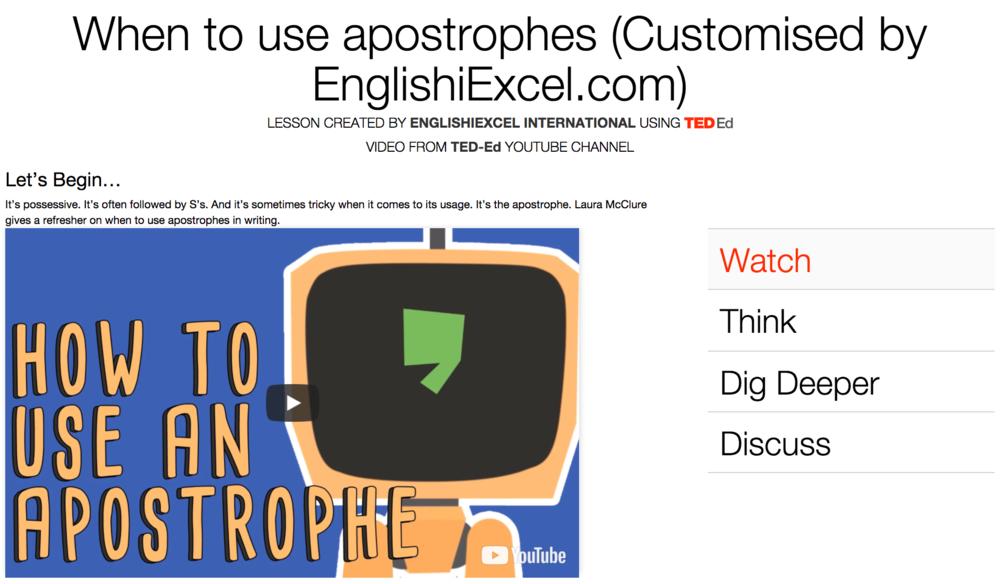 Unit 2: How to Use Apostrophes - https://ed.ted.com/on/MVM9WSsDIt's possessive. It's often followed by S's. And it's sometimes tricky when it comes to its usage. It's the apostrophe. Laura McClure gives a refresher on when to use apostrophes in writing.