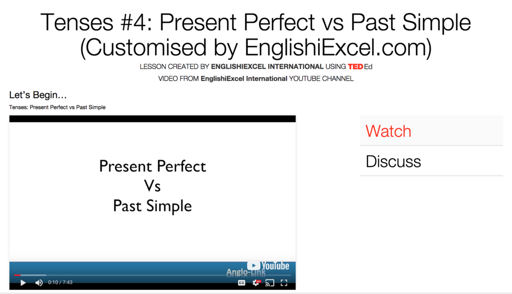 Unit 9: Tenses #4 - Present Perfect vs Past Simple