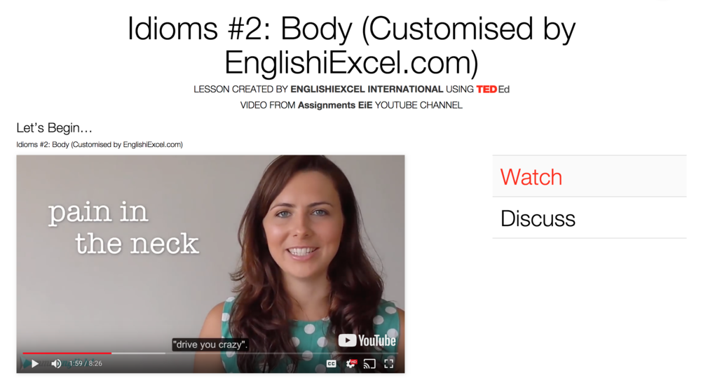 Unit 2: Idioms: Body - https://ed.ted.com/on/dmCrbovMLearn these interesting idioms related to the body and spice up your writing and conversations as well as increase your understanding of the English language.