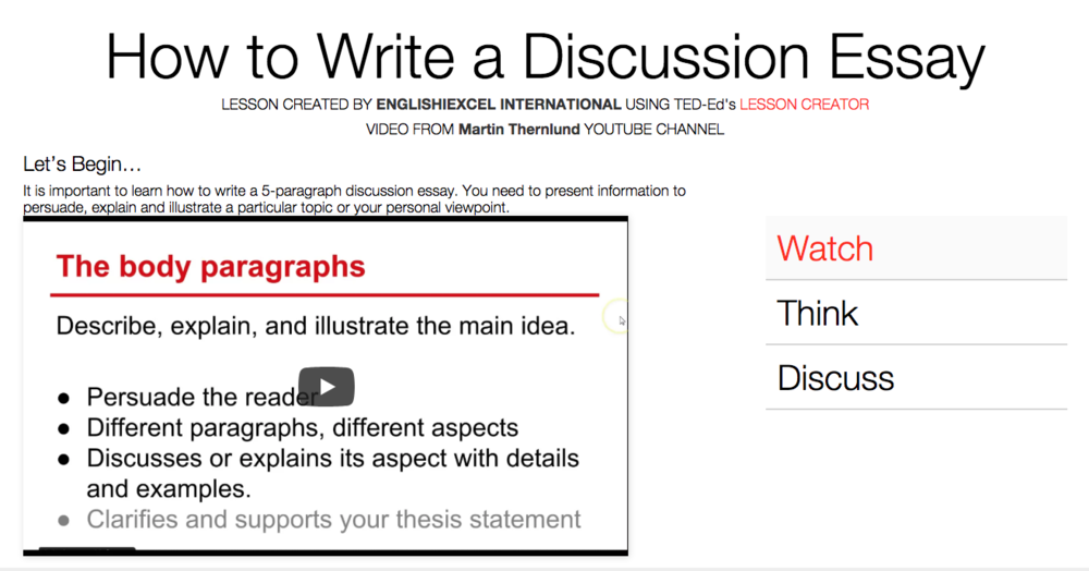 Unit 1: Write a Discursive Essay - https://ed.ted.com/on/qU9PWepd