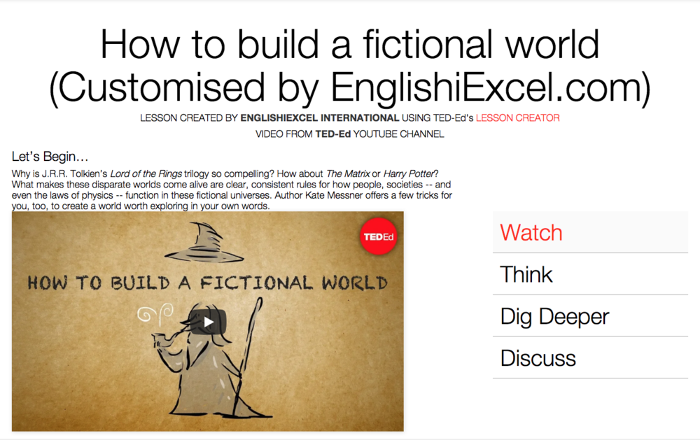 Unit 1: Build a Fictional World - https://ed.ted.com/on/lmNTsk6T