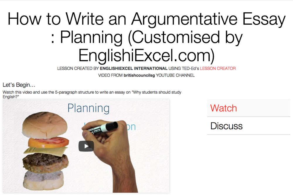 Unit 1: Plan an Argumentative Essay - https://ed.ted.com/on/EljedjIC