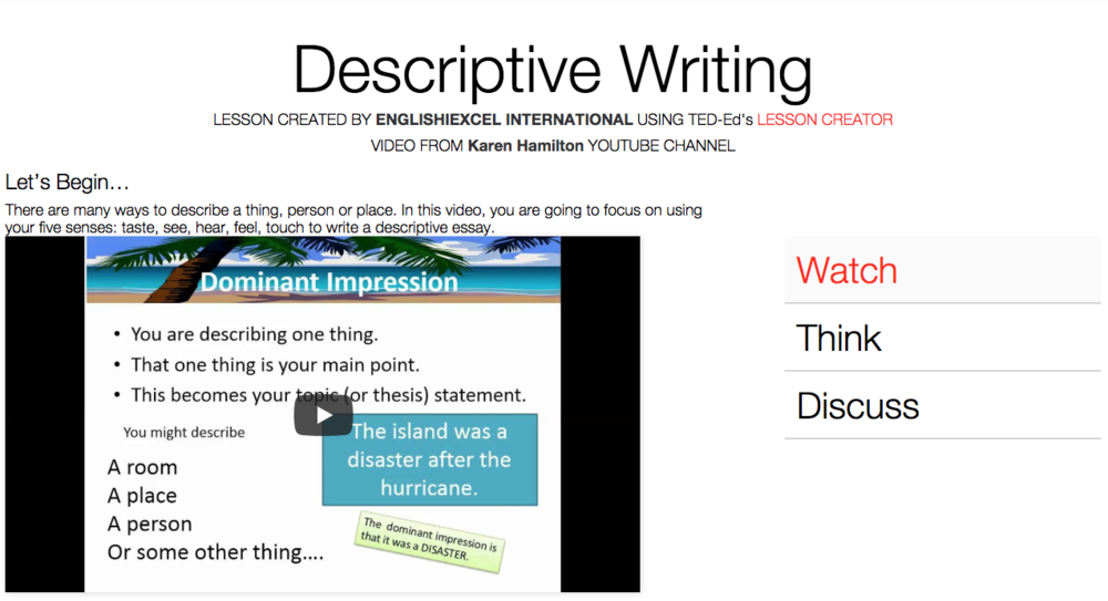 Unit 1: Descriptive Writing - https://ed.ted.com/on/JA3tB8As