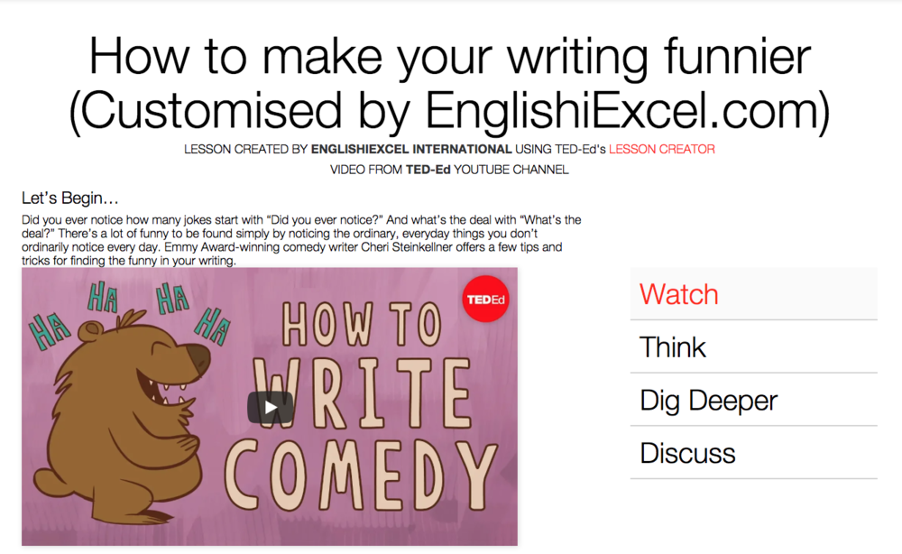 Unit 5: How to Write Comedy - https://ed.ted.com/on/zWPFUmaS