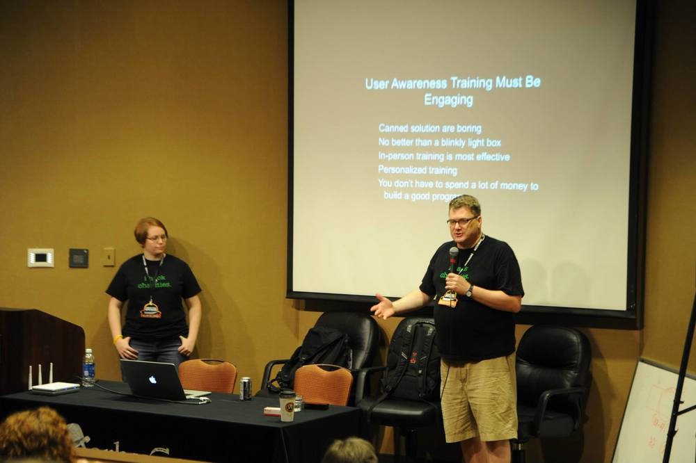 My coauthor Valerie Thomas and I present at Derbycon 3.0 on building an information security awareness program.