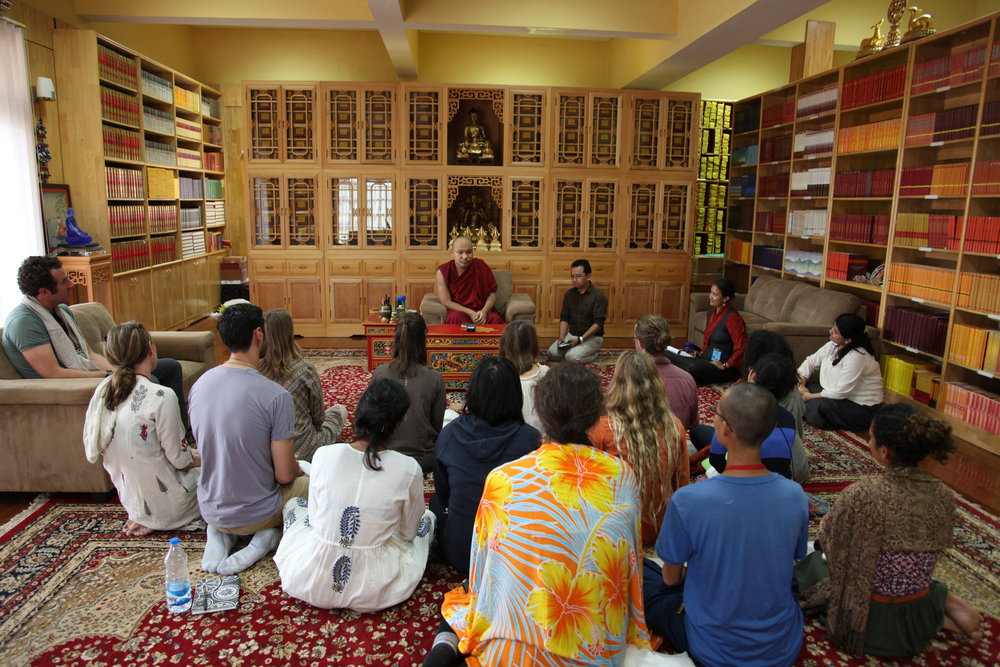 In the library with His Holiness the 17th Karmapa at Gyuto Monastery in Dharamsala, India.