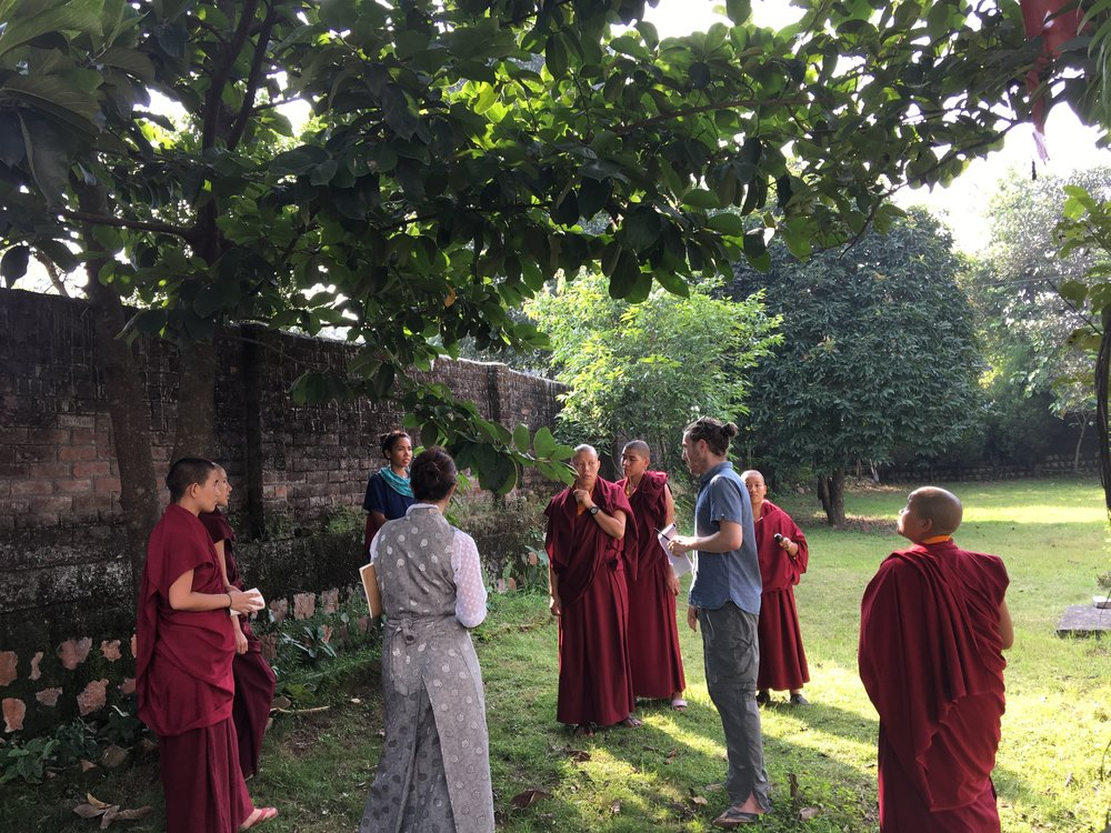 Forestry workshop at Tilokpur Nunnery with the Tilokpur nuns, a translator, and Spiritual Ecology fellows, Kailea Frederick and Kyle Lemle.