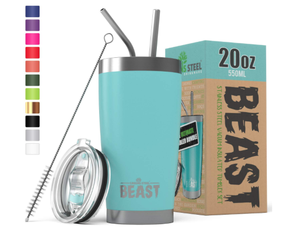 Insulated Tumbler With Straws