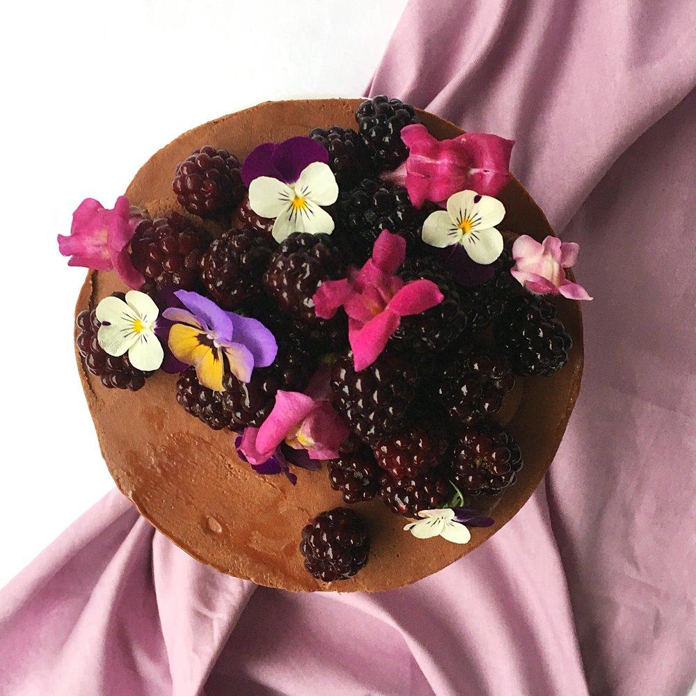CHOCOLATE CAKE, WHIPPED GANACHE + BLACKBERRIES