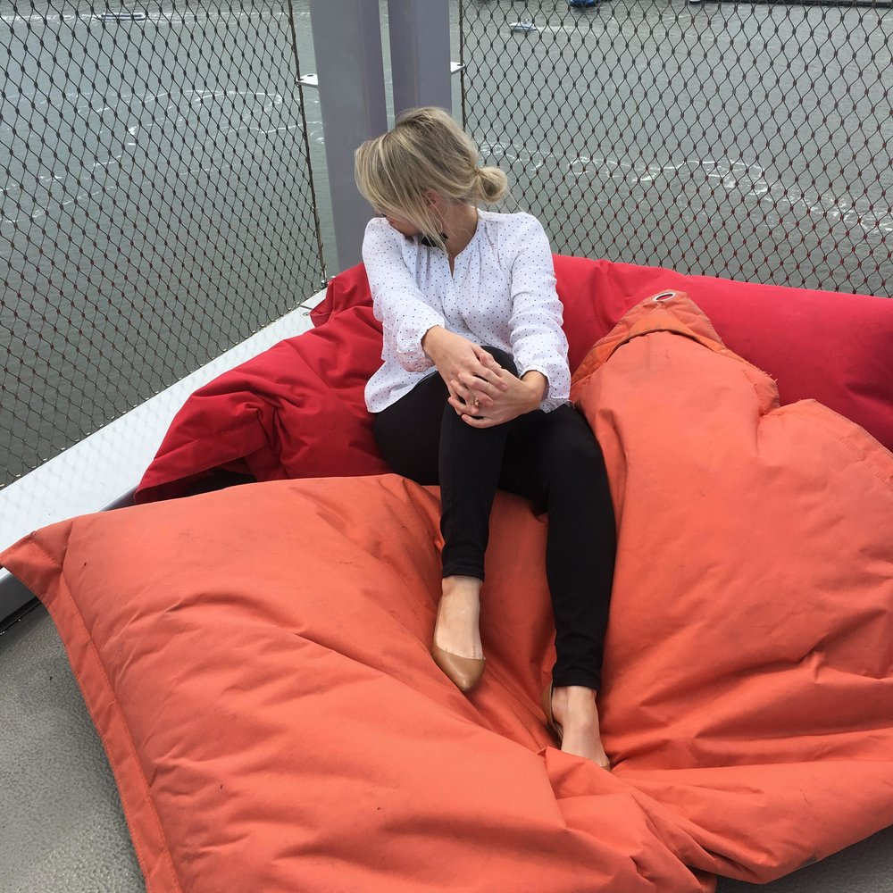 CASUAL BEANBAG LOUNGING WITH A 360 DEGREE VIEWPOINT. A'DAM LOOKOUT, DE TOREN, AMSTERDAM.