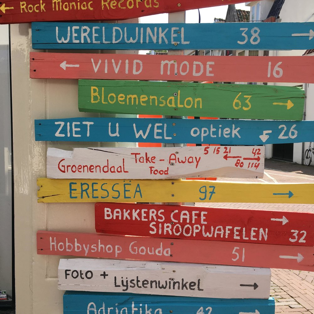 EVEN THE STREET SIGNS ARE FUN + FOOD RELATED. GOUDA.