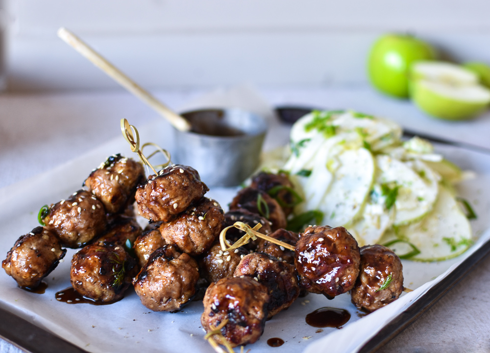 SAUCY BBQ PORK MEATBALLS WITH APPLE + FENNEL