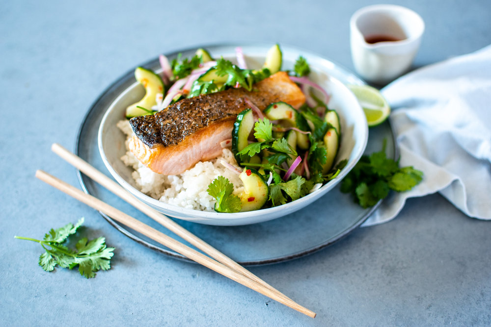 CRISPY SKIN SALMON WITH COCONUT RICE + CUCUMBER SALAD
