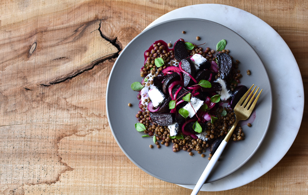ROAST BEETROOT, LENTIL + PICKLED ONION SALAD