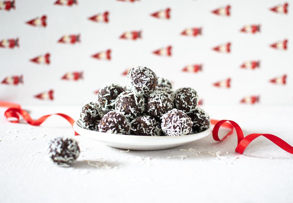 Date, Coconut + Dark Chocolate Rum Balls