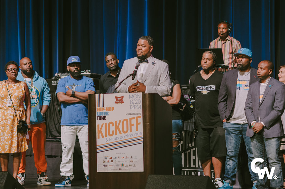 Alderman Rainey speaks at the KICKOFF Event of Hip-Hop Week MKE