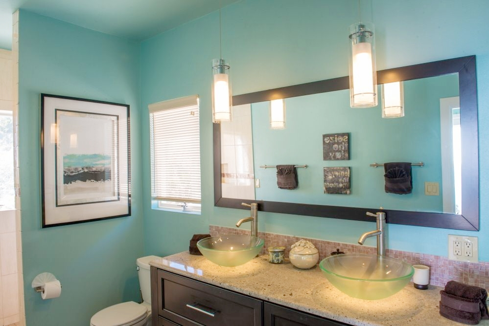 West Master Bath with double vanity vessel sinks. No fighting in the morning!