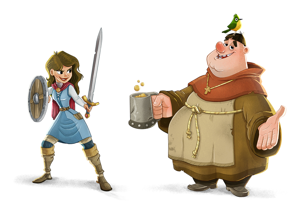 Character Design Illustration Friar Tuck Maid Marian