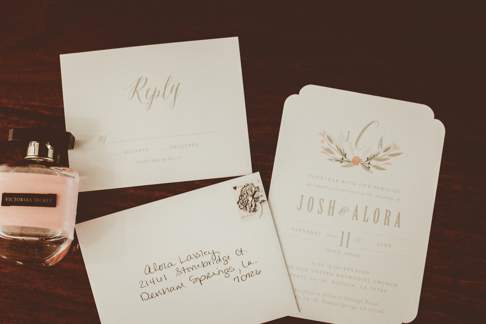 wedding invitations. Josh + Alora | Classic Denham Springs Wedding. Photos by Christi Childs with The Picture People LA photography Baton Rouge, Louisiana