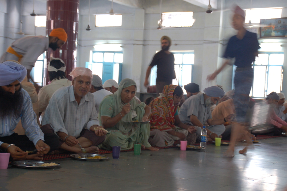 Eating Breakfast in a Sikh Temple