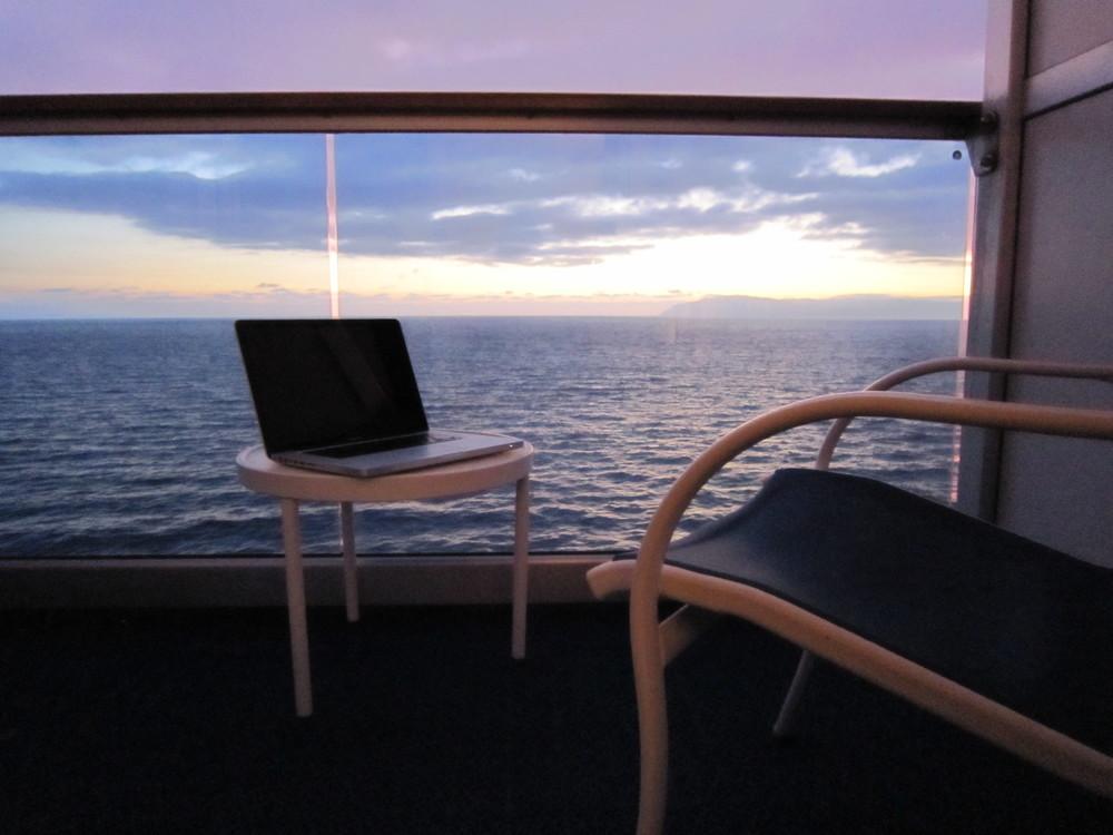 Cruise, Sunset, Laptop, Travel