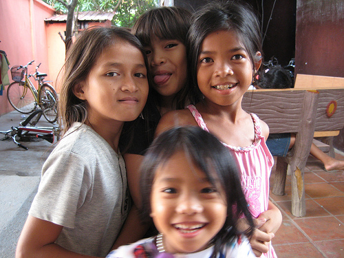 Girls at Palm Tree