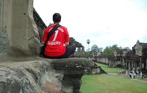 Reflecting at Angkor Wat in Cambodia