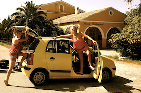 Sierra renting a car in Corfu
