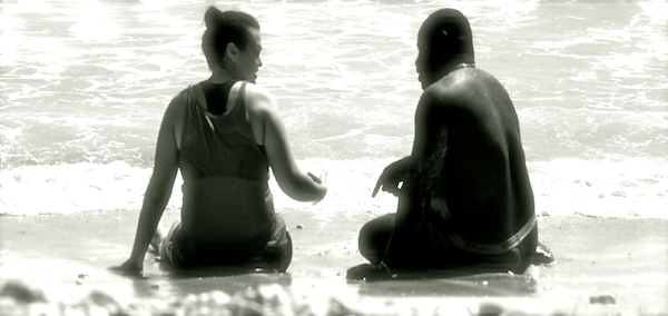 Practicing my Creole on the beach in Jacmel, Haiti